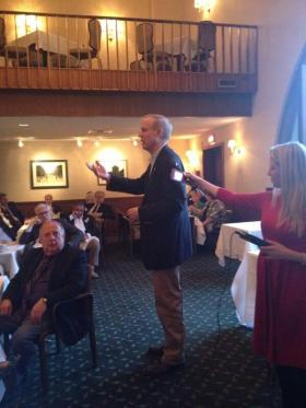 Republican nominee for governor Bruce Rauner gives a speech at the Sangamo Club in Springfield, blocks from the statehouse.