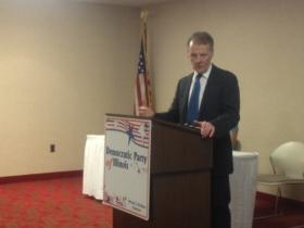 House Speaker and Illinois Democratic Party chair Michael Madigan speaks at a meeting of the Democratic State Central Committee on Tuesday.