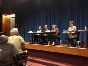 A panel from the Illinois Department of Public Health takes questions.