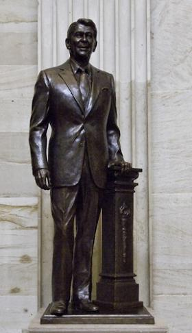 Bronze statue of former President Ronald Reagan in the Capitol Rotunda by Chas Fagan. The statue was given by the state of California to the National Statuary Hall Collection.