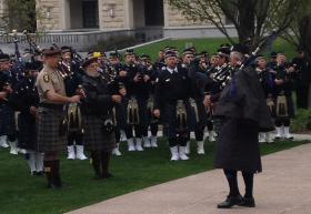 Hundreds of bagpipers and drummers united for renditions of 'Amazing Grace' at the 29th annual police memorial at the Capitol Thursday.