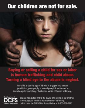 Poster for Our Children Are Not For Sale awareness campaign.