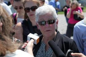 EPA Administrator Gina McCarthy speaks to reporters at Heffernan Farm in Rocheport, Mo., July 9, 2014. (Kris Husted/Harvest Public Media)