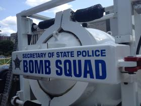 The Illinois Secretary of State Police Bomb Squad water cannon neutralizes bombs.