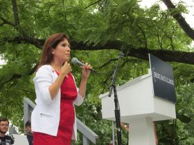 The Republican candidate for lieutenant governor, Evelyn Sanguinetti, gives a rousing speech at the Illinois State Fair GOP Day. For the first time, gubernatorial candidates chose their running mates.