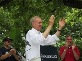 Bruce Rauner rallies Republicans at the Illinois State Fair.