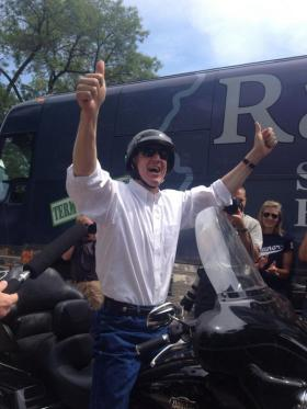 """GOP candidate for governor Bruce Rauner rides into the Republican Day party at the Illinois State Fair on Thursday. Rauner's warm reception included cheers of """"We want Bruce!"""""""