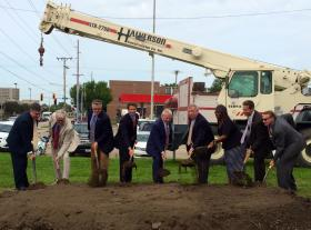 Officials break ground on the new Tenth Street Rail Corridor project, including Congressman Aaron Schock (R-IL), Springfield Mayor Mike Houston, Senator Dick Durbin (D-IL) and Congressman Rodney Davis (R-IL). The project will take two years to complete.