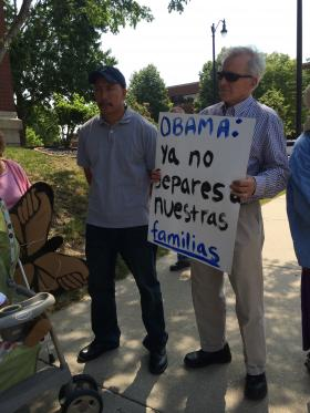 Bloomington resident Bill Rau trekked to Springfield Thursday to rally with undocumented immigrants, asking President Obama to use his power of executive order