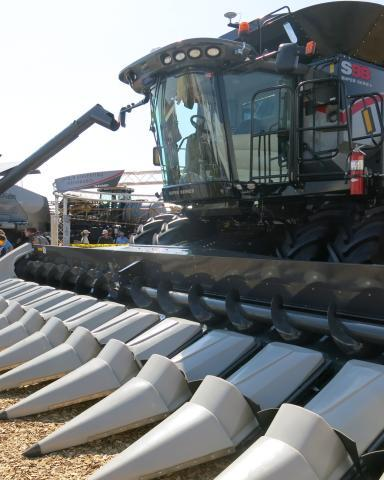 A hulking combine on display at the Farm progress Show in Decatur, Ill., in August.