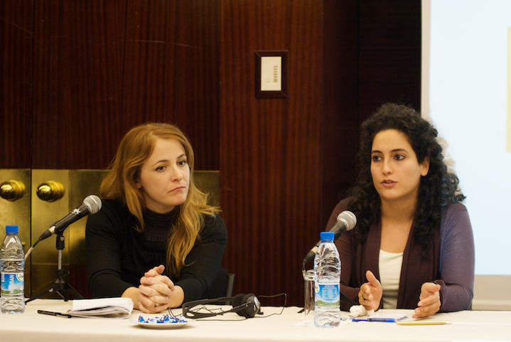 Kelly McEvers, Asma Al Sharif at an International Center for Journalists conference in 2010.