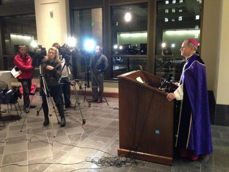 Bishop Thomas Paprocki meets the press