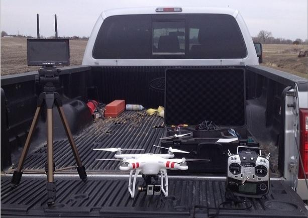 Matt Boucher of Dwight, Ill. flies his unmanned aerial system from the back of his pickup.