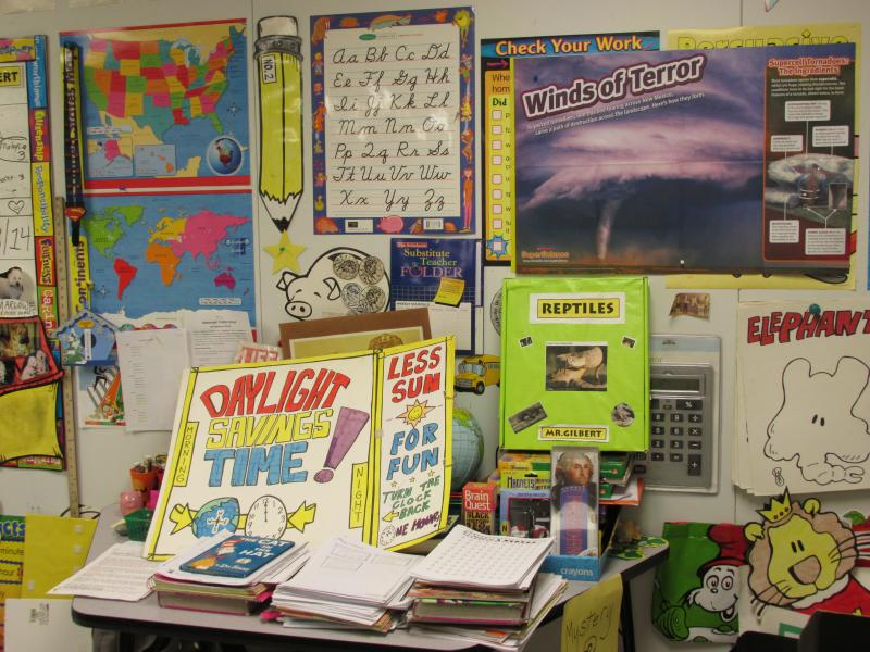 As a former artist, teacher Mr. Gilbert makes much of his classroom material