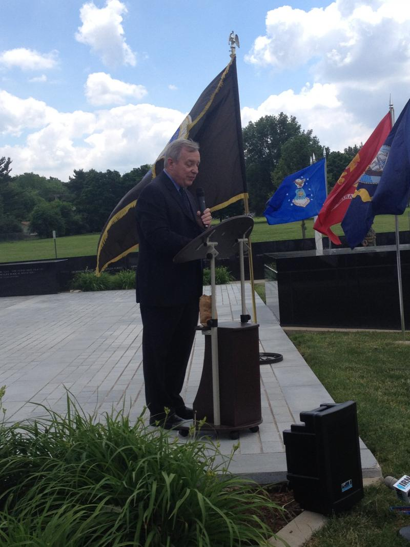 U.S. Sen. Dick Durbin (D-Illinois) speaks at a D-Day memorial in Springfield on Friday.