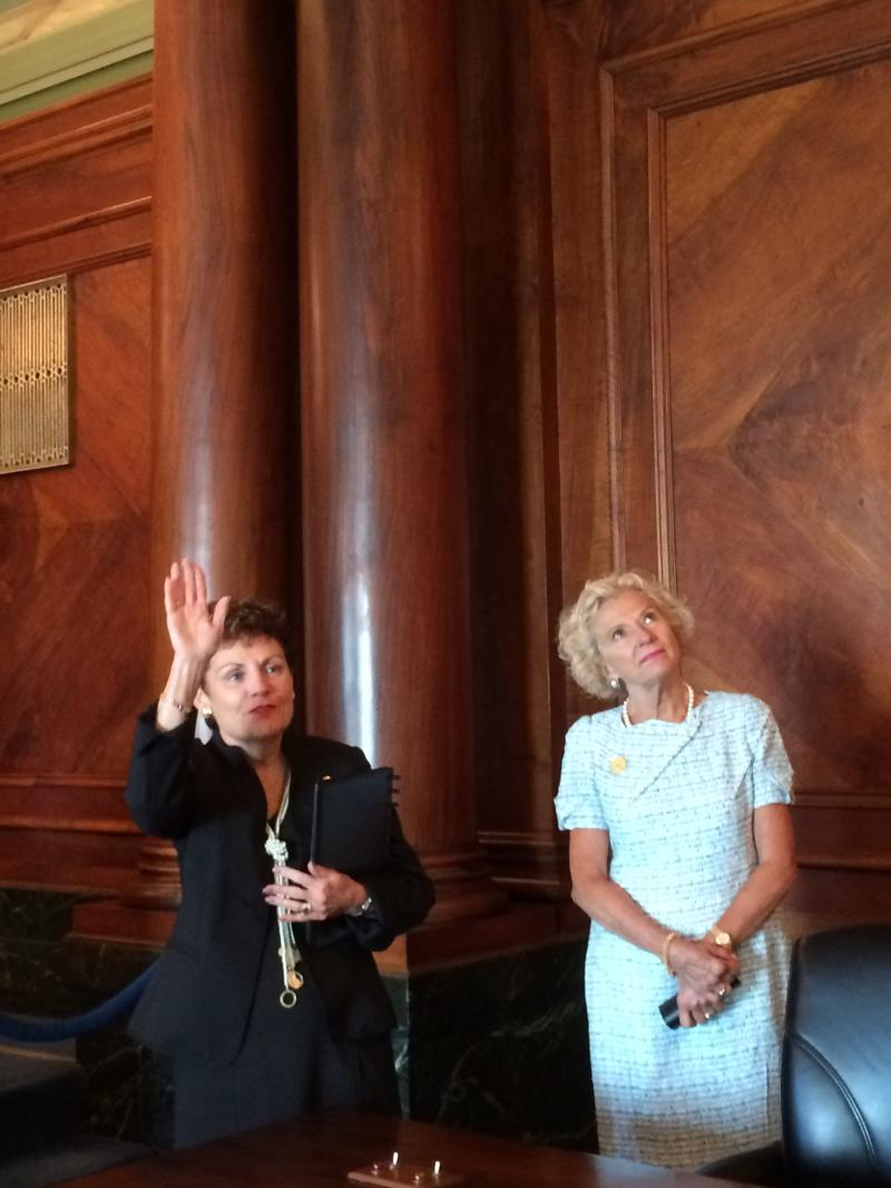Chief Justice Rita Garman and Justice Anne Burke tour the newly renovated Supreme Court on Wednesday. The Court resumes in Springfield in September after spending the last year in Chicago.