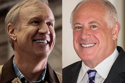 Bruce Rauner and Pat Quinn headshots