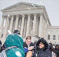 Outside the U.S. Supreme Court, Flora Johnson, chairwoman of Executive Board of SEIU Healthcare Illinois & Indiana, in January answers questions about Harris v. Quinn.