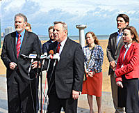U.S. Sen. Dick Durbin, an Illinois Democrat, joined environmental group representatives to decry the S.S. Badger's polluting of Lake Michigan.