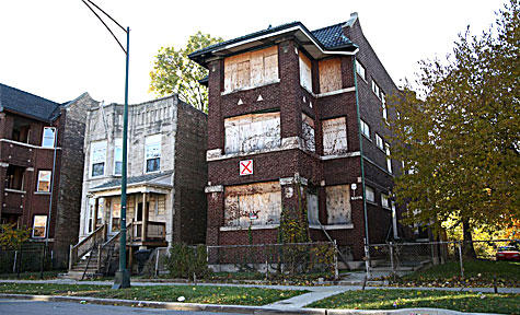 Vacant apartment building.
