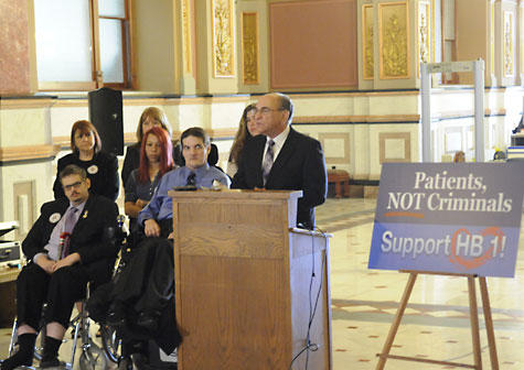 Rep Lou Lang speaks at a press conference on his medical marijuana bill.