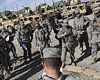 Soldiers with 1st Battalion, 178th Infantry Regiment, Illinois National Guard are assigned to a provincial reconstruction team's security forces platoon. Gardez, Afghanistan, April 13, 2009.