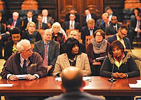 Gloria Davis addresses a Senate committee