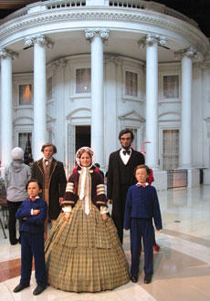 wax figures of the Lincoln family inside the museum