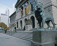 The Art Institute of Chicago. North View of Michigan Avenue Facade, courtesy of the Art Institute of Chicago.