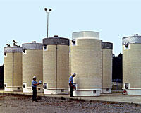 Dry casks containing radioactive waste
