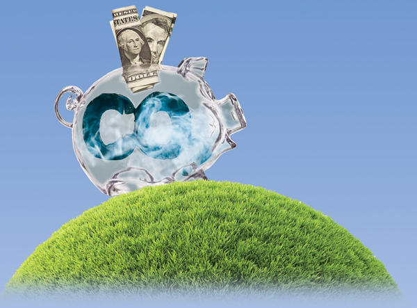 CO2 filled piggy bank illustration