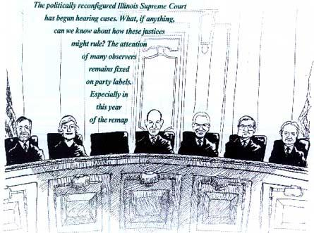 Illustration by Mike Cramer using photographs fo the newly elected justices taken by Terry Farmer, Todd Mizener and Paul McGrath