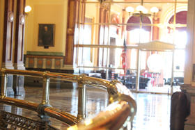 Brass rail outside the Governor's office