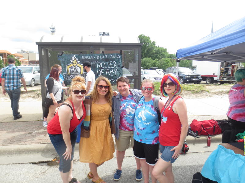 members of the MidState Mayhem Roller Derby League had a tent set up at the fest