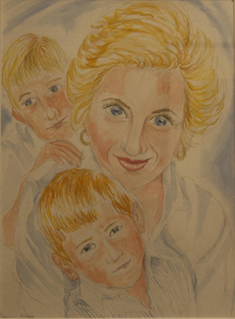 Diana Mother, with Prince William and Harry