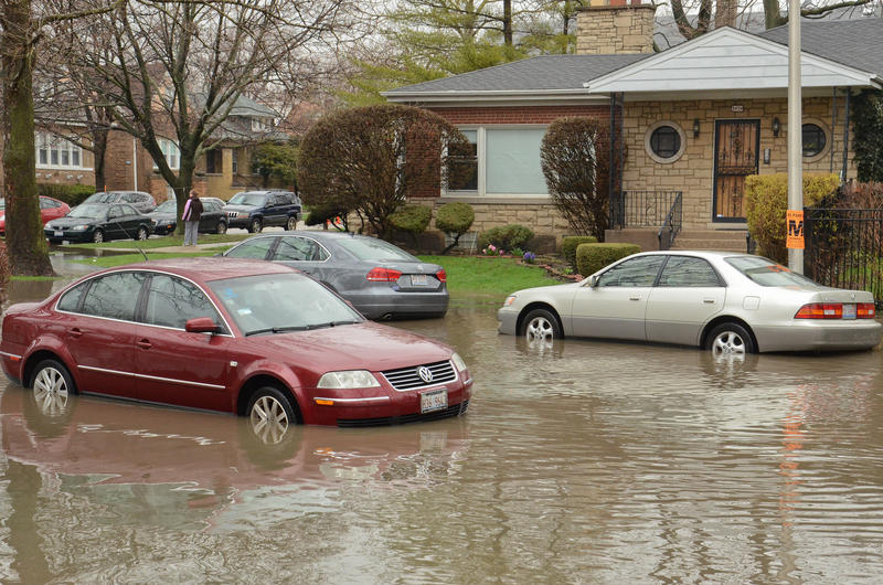 Flooding in the Albany Park neighborhood of Chicago