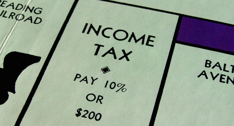 Income tax space on a Monopoly game board