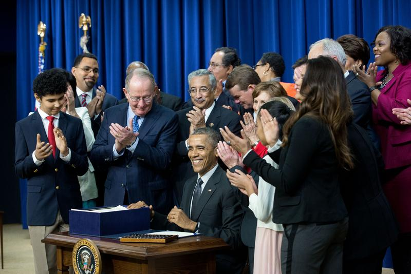 President Barack Obama signs the Every Student Succeeds Act in December.