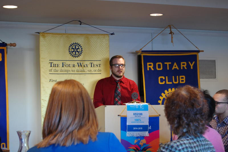 NPR Illinois' John McMillan Addressing The Rotary Club Of Springfield Sunrise