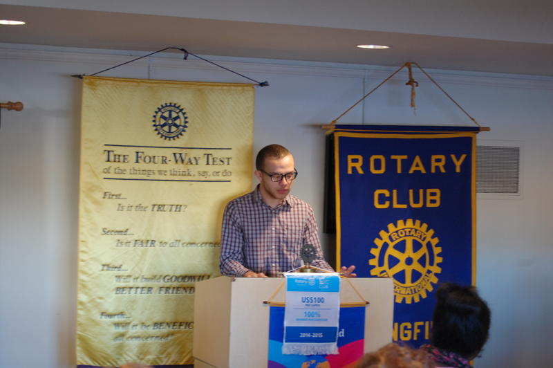 "Lanphier High School Senior Matt Brown Reads His Essay ""(Partially) Black Comedy"" In Front Of The Rotary Club Of Springfield Sunrise"