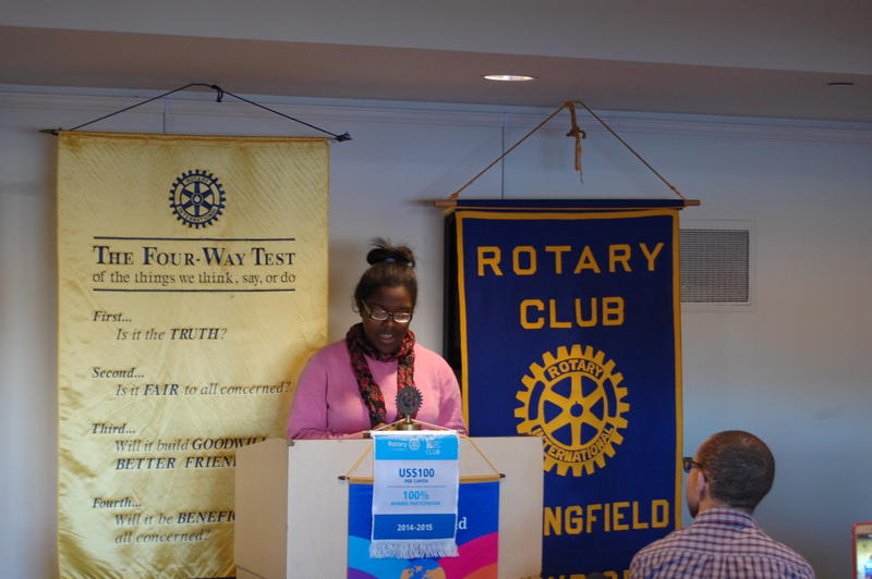 "Southeast High School Senior Alexa Brown Reads Her Essay ""I Believe In Melanin"" In Front Of The Rotary Club Of Springfield Sunrise"