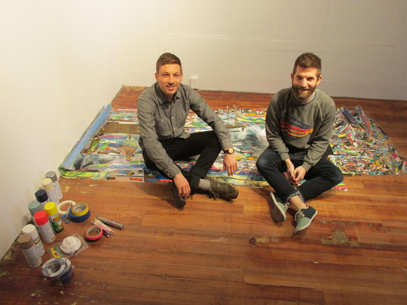 Mark Joshua Epstein & Will Hutnick mid-install at the DEMO