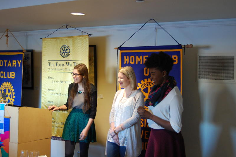 This I Believe Essayists Hannah Mobley (Right), Olivia Moore (Center), and Ejehi Erewele answer questions from the Rotary Club of Springfield Sunrise