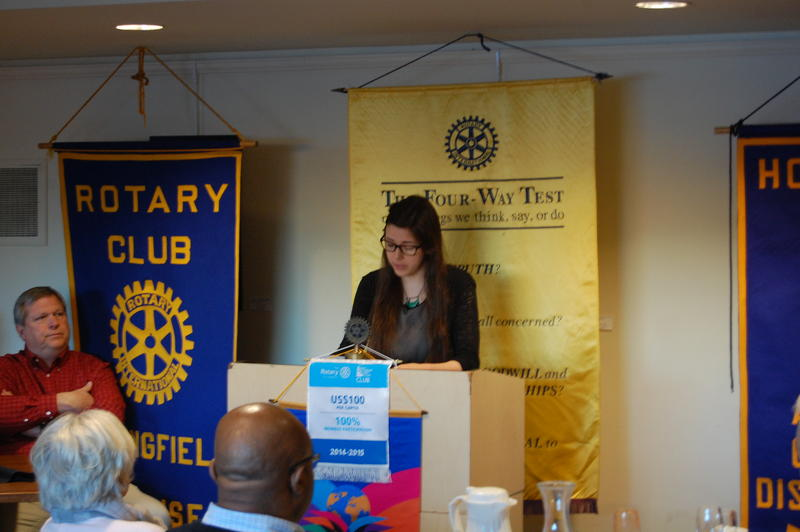 Lanphier High School Senior Hannah Mobley Reads Her Essay 'Collecting Bottles' For The Rotary Club Of Springfield Sunrise