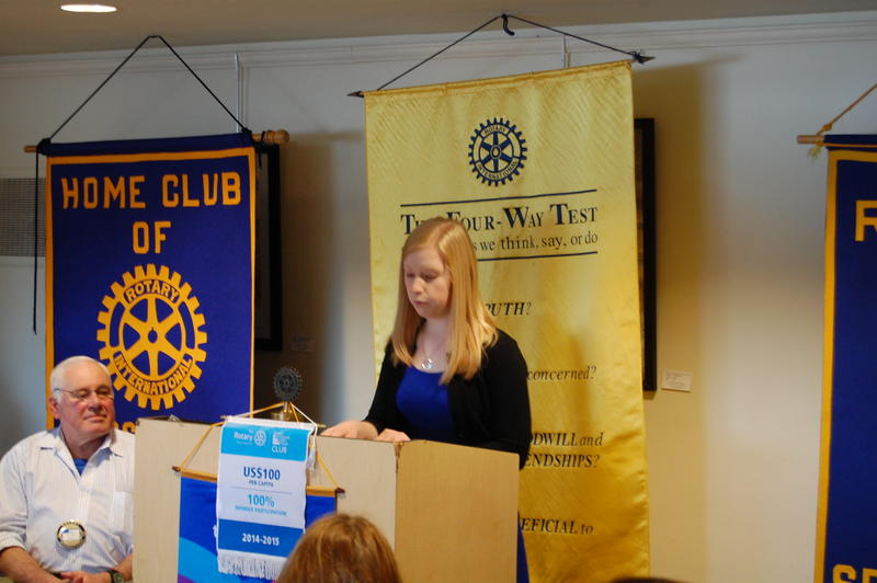 Pawnee High School Senior Jordan Lott Reads Her Essay 'My Personal Veggie Tale' For The Rotary Club Of Springfield Sunrise