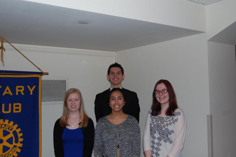 This I Believe Selected Authors Jordan Lott (Left), Isra Hasnain (Center Front), Noah Schlosser (Center Back) and Janie Sutherd (Right) At The Rotary Club Of Springfield Sunrise