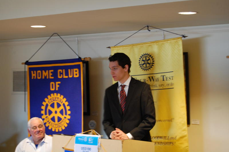 Springfield High School Senior Noah Schlosser Reads His Essay 'Life Needs More Cowbell' For The Rotary Club Of Springfield Sunrise
