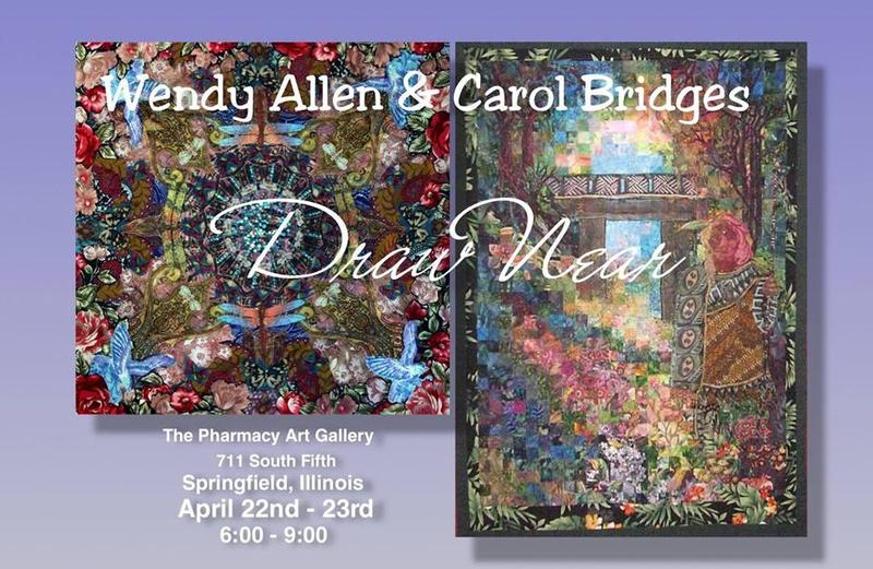 a flyer for the art show, featuring the work of Allen (L) & Bridges