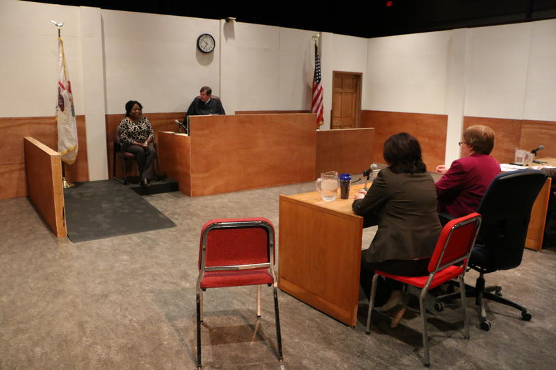 A mock court room is used to train child protection services' participants.