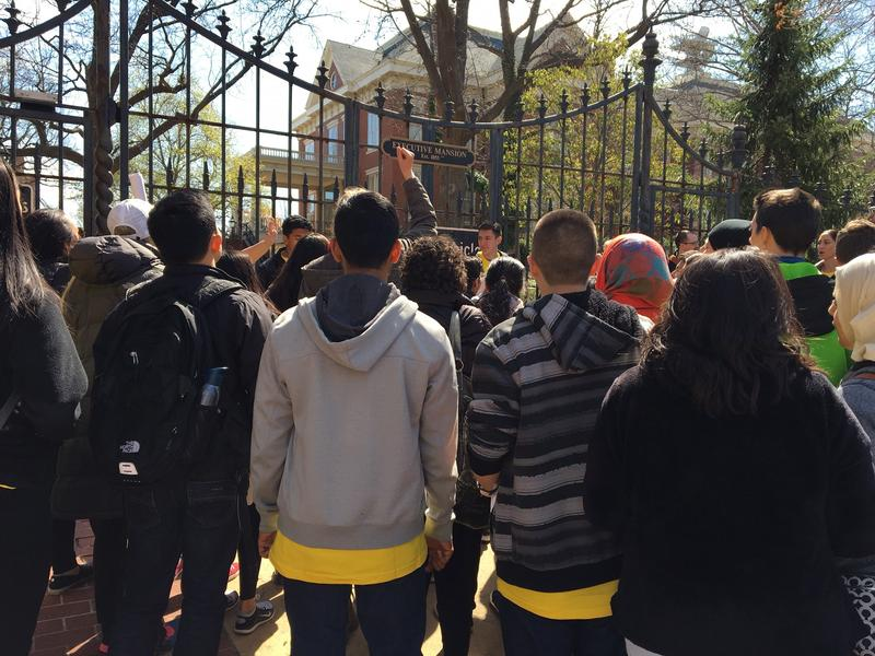 Homeless youth and service providers protest outside the Governor's Mansion in Springfield.